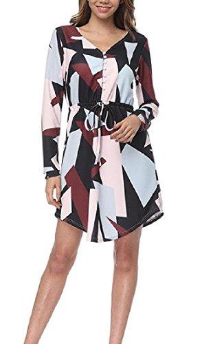 Gr Taille frauen Kleid e Rote Wein Geometrie H Coolred Schickes Lange Plus lse Annimmt qzdUWXw4