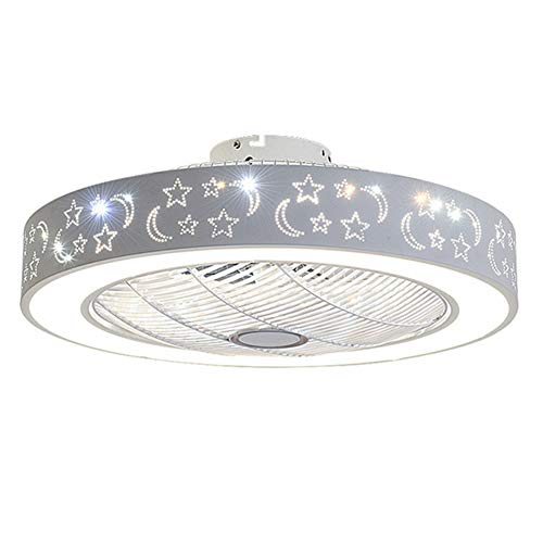 - ZAQ Ceiling Light with Fan, LED Pendant Light with Remote Control, Moon and Star Decorative Lamp with Fan for Living Room Dining Room Bedroom,Round
