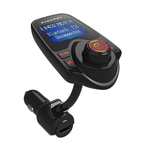 FM-Transmitter, Esonstyle drahtlose Bluetooth In-Car FM-Transmitter mit USB Car Charger / Freisprechen / TF / Audio Line / Lautstärke +/- für iPhone, Samsung alle Smartphone Audio-Player (Schwarz Color)