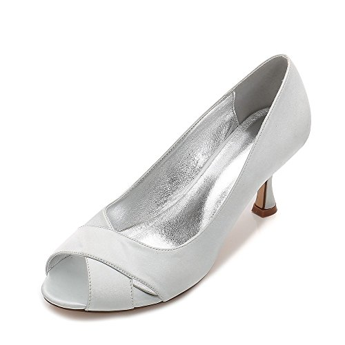 Blocs Sangle Parti Chaussures Talons Sandals Hauts Peep Cheville Bloc Argent Toe Femmes À Zxstz nq4PB057B