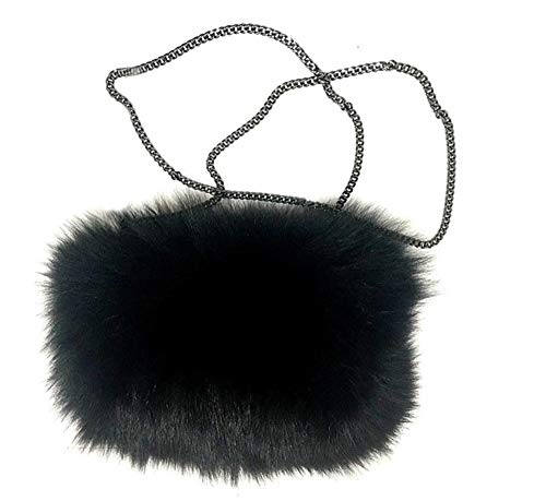 Women's Fox Fur Purse Handbag Hand Muff Crossbody Black
