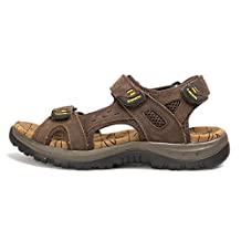 Agowoo Men's Leather Ventilated Hiking Beach Sandals