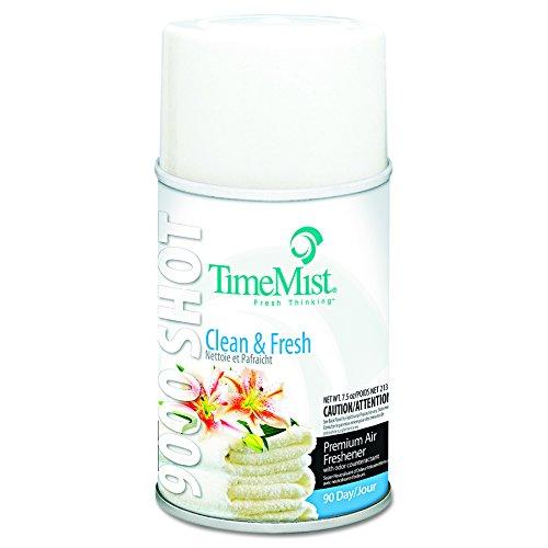 TimeMist 1042637 9000 Shot Metered Air Fresheners, Clean N' Fresh, 7.5 oz Aerosol (Case of 4) 9000 Aerosol