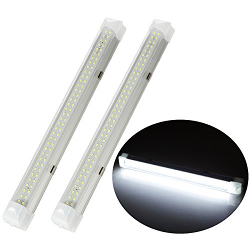 2pcs 72 LEDs 13.5 inches 24V Interior Light Lamp Strip Bar with On-off Switch for Car Van Bus Caravan Truck RV Camper Boat Work as Map Light Dome light Trunk or Cargo Area Light Rear Room Light, Pair
