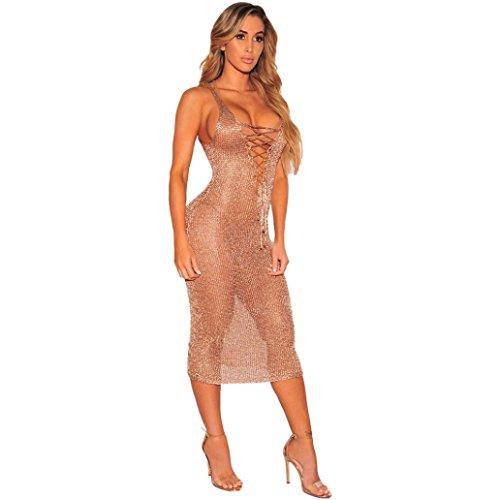 Momola Femmes Maigre Sans Manches Or Perspective Mini Robe Smock Col en V Tricot Sans Manches Plage Bikini Maillots De Bain
