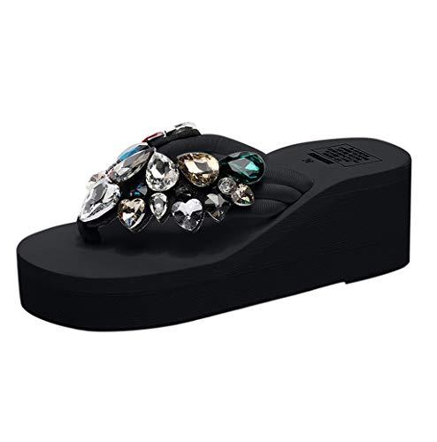 Photno ❤️ Womens Stylish Rhinestone Decoration is Soft and Comfortable Bohemia Middle High Files flip Flops Black