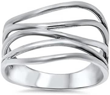 Sterling Silver Crooked Lines Filigree Ring (Sizes 5-13)