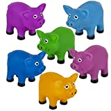 Rhode Island Novelty 2 Inch Water Squirting Colorful Pigs Set of 12 Colors May Vary