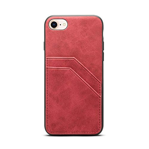 TACOO Slim Cellphone Cover for iPhone 8/7,Leather Soft PU Protective Credit Card Slot Holder Women Girl Durable Red Case Shell Compatible with Apple iPhone 7 2016 4.7 Inch,iPhone 8 2017 4.7 Inch -