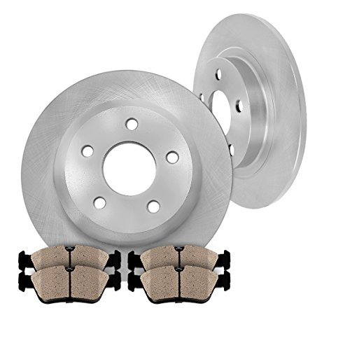 REAR 295 mm Premium OE 5 Lug [2] Brake Disc Rotors + [4] Ceramic Brake Pads - Volvo 850 Turbo Wagon