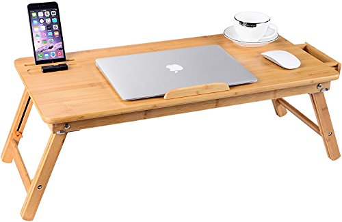 Laptop Desk, NNEWVANTE Bamboo Laptop Table Adjustable Lap Tray Bed Serving Tray Breakfast Table Foldable Coffee Tea Table 5 Tilting Top Angles 2 Latches Prevent Leg Wobbling Large Size 27.95