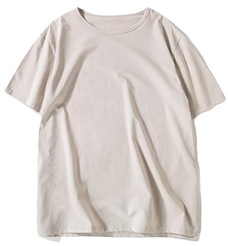 JWK Mens Short Sleeve Crewneck Plain Loose Soft Tops T-shirts Light Gray X-Small by Joe Wenko