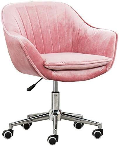 ホームオフィスチェア回転式コンピュータチェアホーム取り外し可能で洗えるゴールドベルベットファブリックスツールデスクチェアネット赤い椅子学習オフィス回転チェアレイジーチェアスチールフィートqqq(Color:6)