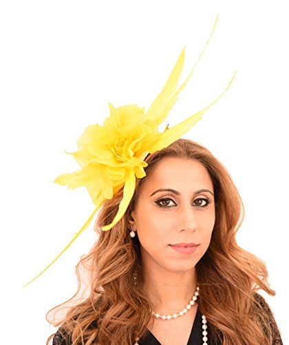 Hats By Cressida Ladies Feather Wedding Races Ascot Derby Small Fascinator Headband Lemon Yellow by Hats By Cressida