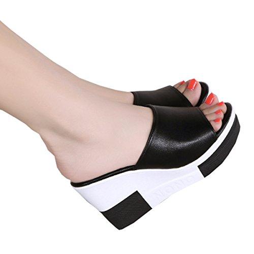 black Pour Sandales Femmes Coréenne Minces 38 Été Dfb Chaussons Pente Des De Avec Fond En Pantoufles Femmes Marées Extérieur Version D'extérieur Fraîches Extérieurs Les PCHCwxqB