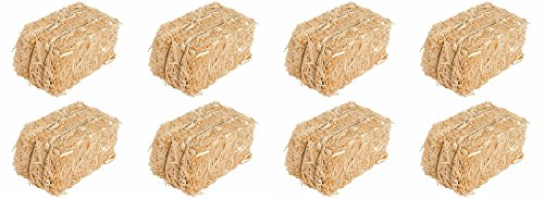 Straw Bale for Indoor or Outdoor Home Decor, 13 in, Set of 8 -