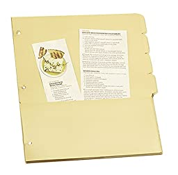 Meadowsweet Kitchens Pocketed Tab Dividers for 3 Ring Binders, Set of 8