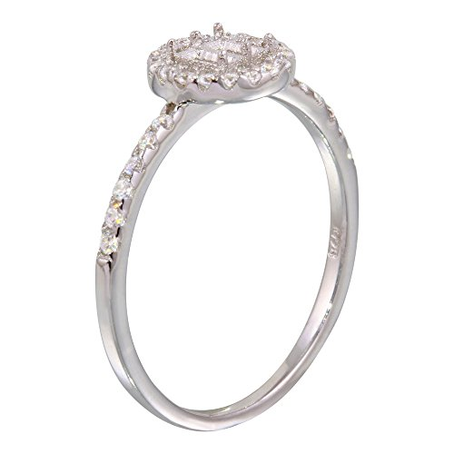 Exquisite Sterling Silver Rhodium Plated Center Circle Mounting Only Ring with CZ - ()