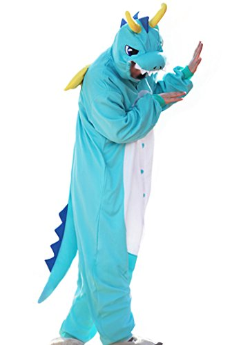 WOTOGOLD Animal Cosplay Costume Dragon Unisex Adult Pajamas Blue,Large Blue Large -