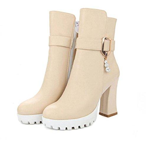 Botas cortos de las mujeres con alto - tacón de 10cm de espesor alrededor de cabeza impermeable botas de otoño e invierno botas de Martin beige