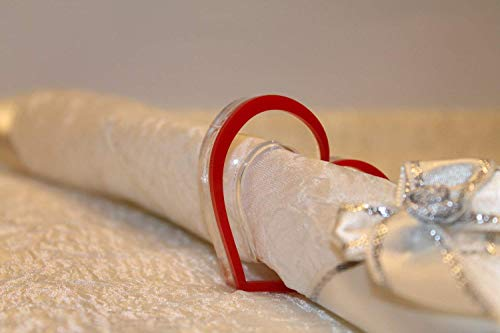 Red Heart Napkin Ring Holders Valentine Table Decorations Laser Cut Acrylic Heart Shape Valentines Day Gift Dinner Party Decor Tableware Bridal Shower Birthday Parties Wedding Centerpieces Mothers Day -