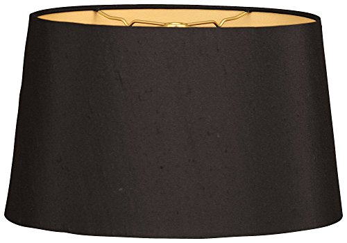 Royal Designs HB-611-14BLK/GL Shallow Oval Hardback Lamp Shade, 12 x 14 x 8.5, Black ()