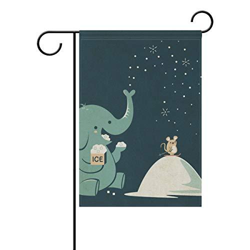 senya Double Sided Yard Garden Flag, Happy Elephant and Mous