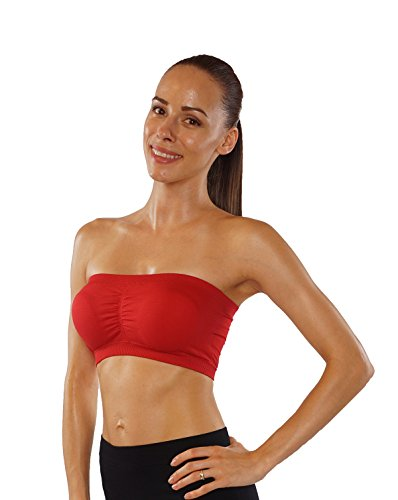 ITZON Woman`s Bandeau Bra Top (One Size, Red)
