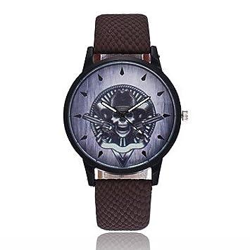 Relojes Hermosos, Hombre Mujer Reloj creativo único Reloj Casual Chino Cuarzo Calavera PU Banda Vintage Cool Halloween Negro Azul Marrón (Color : Negro) : ...