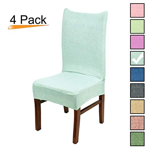 Stretch Dining Room Chair Covers Soft Spandex Seat Protector Removable Slipcover for Hotel Wedding Party Set of 4, Aqua Blue