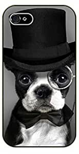 For Iphone 5/5S Case Cover Case Hipster dog with hat, glasses and tie. Like a sir. - black plastic case / dog, animals, dogs