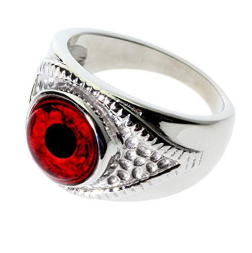 Steel Dragon Jewelry Unisex Red Vampire Glass Eye Ring in an Eye-Shaped Stainless Steel Setting (Vampire, 6) by Steel Dragon Jewelry (Image #1)