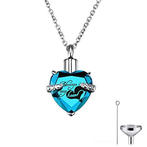 CAT EYE JEWELS Memorial Urn Necklace Always in My Heart Birthstone Keepsake with Funnel Kit Sky Blue