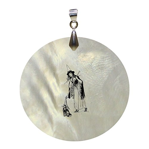Halloween Costume Vintage Look Mother of Pearl Shell Pendant Round