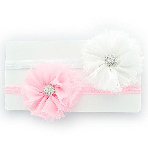Pink White Rhinestone (My Lello Baby Flower Headband Shabby Frayed Fabric Ballerina Rhinestones Pair (White/Light Pink))