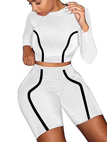 BEAGIMEG Women's Casual 2 Piece Outfits Stripe Romper Long Sleeve Top Shorts White
