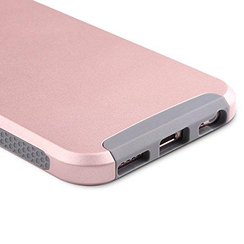 Caso del iPhone 6s, ULAK iPhone 6 Funda Carcasa Protector híbrido de la capa dual TPU + cubierta dura de la caja de la PC para el iPhone 6s / 6 4.7 pulgadas (mármol del oro de Rose) Rosa oro + Gris