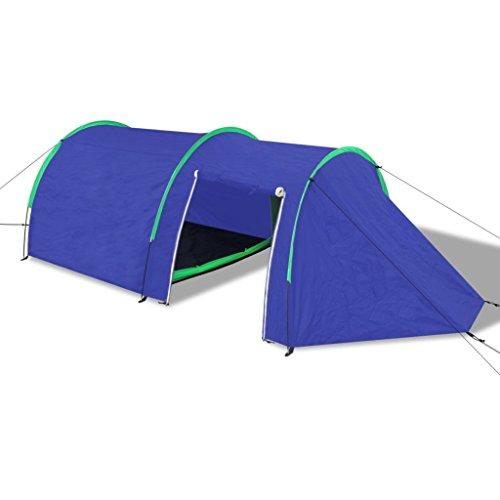 vidaXL Tente de camping imperméable 4 Personnes Bleu marin/bleu clair