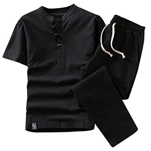 Men's Cotton White Pants Summer Beach Elastic Waistband Casual Pants+Linen Short Sleeve Top Shirt Set Suit