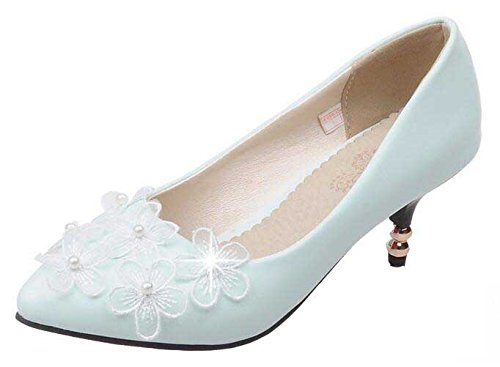 SHOWHOW Women's Elegant Stiletto Beaded Floral Pointed Toe Buckle Ankle Strap Kitten Heel Pumps Shoes Blue 7 B(M) US