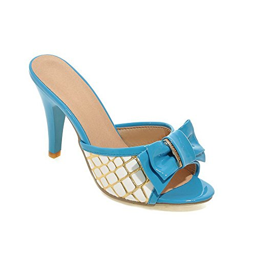 VogueZone009 Women's Soft Material Pull-on Open Toe High-Heels Assorted Color Heeled-Sandals Blue IgMDCDyz