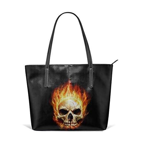 Lightweight Fire Flame Skull Leather Handbag Tote Bag For Women's
