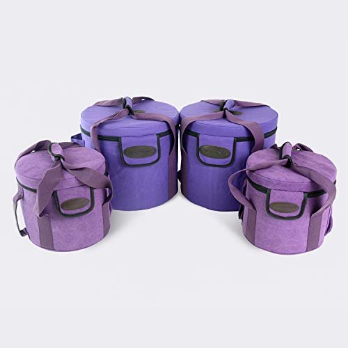 TOPFUND Purple Heavy Duty Padded Carrying Cases Set for 7 Chakra Singing Bowls Set 8-12 inch (Crystal Singing Bowl Set)