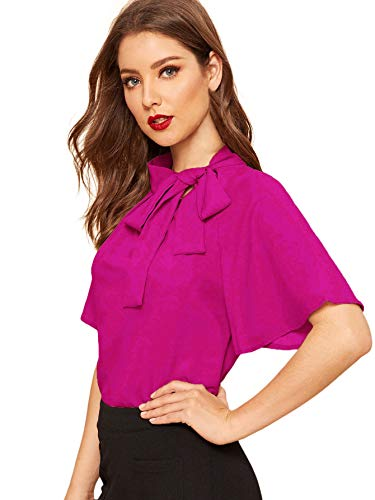 SheIn Women's Casual Side Bow Tie Neck Short Sleeve Blouse Shirt Top Small Hot Pink