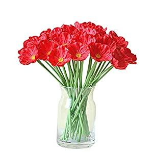 MARJON Flowers10 PCS Latex Corn Poppies Decorative Silk Fake Artificial Real Touch Poppy Flowers for Wedding Bridal Bouquet Home Party Decor 90