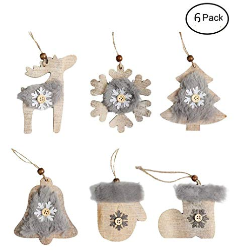 Fashionclubs Christmas Tree Ornaments Set, Rustic Xmas Tree Hanging Wooden Ornaments Charms Pendant Decoration,6pcs/set,Christmas Snowflake,Gloves,Bell,Shoes,Tree,Deer Ornamnents