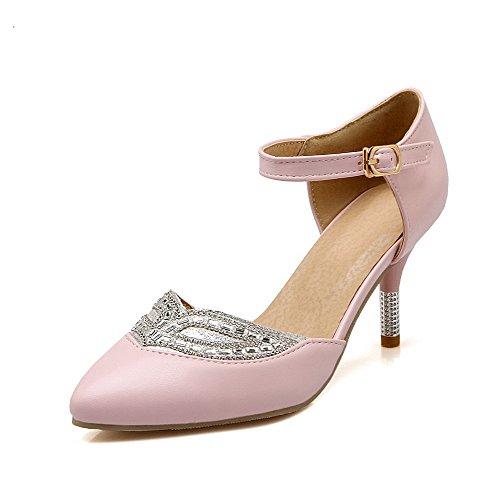 VogueZone009 Damen Eingelegt Weiches Material Hoher Absatz Schnalle Spitz Zehe Pumps Schuhe Pink