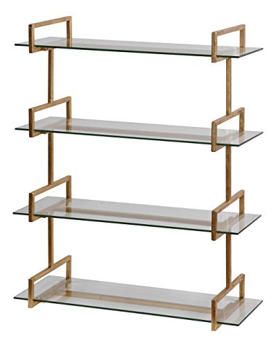 (Modern Iron Glass Wall Shelf Antiqued | Gold Metal Vintage Style Four Shelves Minimalist)
