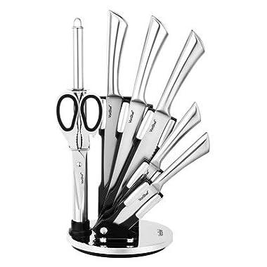 VonShef 7 Piece Professional Stainless Steel Kitchen Knife Set with Revolving Block