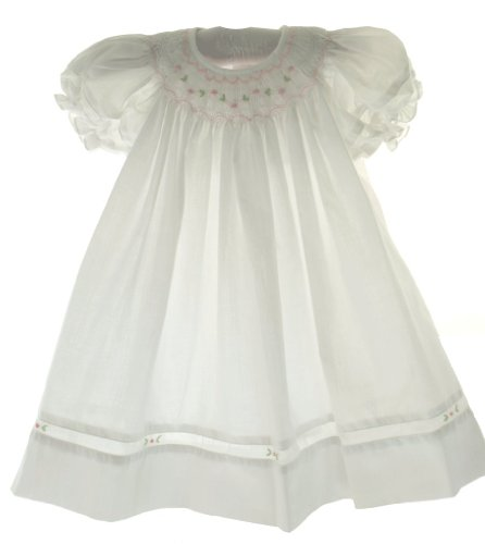 Petit Ami Infant Girls White Smocked Bishop Dress Pink Embroidered Flowers NB